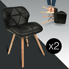 Set of 2 Dining Side Chair PU Leather Cushion Seat Wood Modern Style Furniture