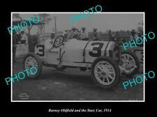 OLD LARGE HISTORIC MOTOR RACING PHOTO BARNEY OLDFIELD STUTZ RACING CAR 1914