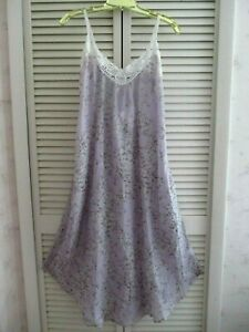 NEW PAPINELLE MAXI NIGHTGOWN SLEEVELESS CHERRY BLOSSOM LILAC SILK COTTON BLEND S