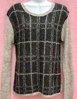 Ann Taylor Loft Light & Dark Gray Lightweight Long Sleeve Knit Sweater Sz: M