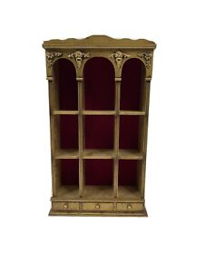 Vintage Ornate Gold Wood Hanging Display Curio Cabinet Shelf Trinkets Miniatures