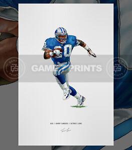 Barry Sanders Detroit Lions Football Illustrated Print Poster Art