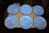 Vintage Nippon Hand Painted Salad Dessert Plates 6 Pieces Temple Mountains Trees