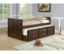 Captain Kids Bed with Storage and Trundle in Cappuccino