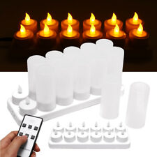 12pcs Rechargeable LED Tea Light Flickering Flameless Candles Remote Control