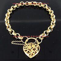 Real Solid 14k Rose Gold GF Bolt Ring Chain Heart Clasp Padlock Bracelet Bangle
