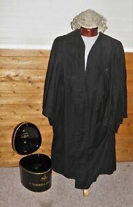 Vintage Barristers Wig In Tin Case With Robe -By RAVENSCROFT-Gledhill Dickinson
