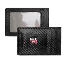Nissan GT-R Logo Slim Black Carbon Fiber RFID Blocking Card Holder Wallet