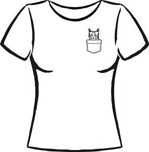 T-Shirt mit Katzen  / Katzen Fan Shirt/ Katze in der Brusttasche /Pocket Cat