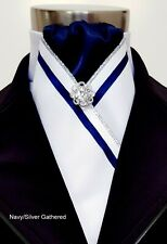 ERA Fiona White Stock Tie - Gathered 6 colours Navy, Burgundy, Pink, Red & more