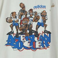 Vintage 90s Adidas American Soccer T-Shirt XL White Double Sided Short Sleeve