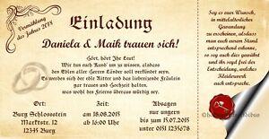 70 Einladungskarten Hochzeit Einladungen Mittelalter 21 x 10,5 Hochzeitskarten
