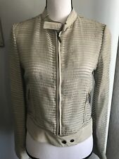 Giorgio Armani leather and silk moto jacket pristine