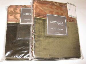 2 Croscill KENSINGTON Carrington Boston Green Velvet Euro Shams NEW