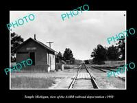 OLD LARGE HISTORIC PHOTO OF TEMPLE MICHIGAN, THE RAILROAD DEPOT STATION c1950