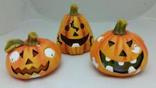 NEW SPOOKY HALLOWEEN PARTY DECORATIONS PUMPKIN CERAMIC 12.7CM 3 ASSTED DESIGN