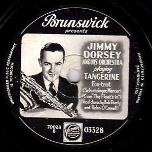 RARE PICTURE LABEL 78 JIMMY DORSEY - TANGERINE / I REMEMBER YOU  BRUNS. 03328 E