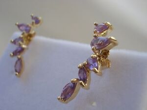 Limited Edition Designer Natural Purple Sapphire Drop Gold Earrings