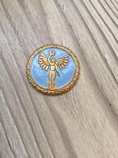 More details for vintage winged victory blue enamel medallion