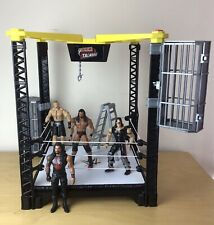 WWE Tough Talkers Wrestling Ring with 4 figures Cages Ladder Brock Lesnar Roman