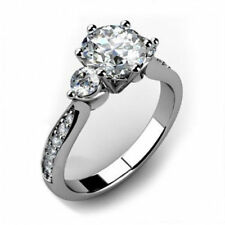 2.40Ct White Round Cut Solid 925 Sterling Silver Three Stone Engagement Ring