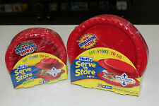 b38 Hefty Serve N Store Interlocking Plates (20) & Bowls (22) lot Red Plastic