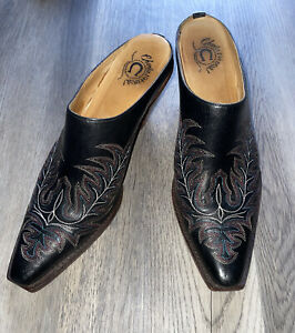 Charlie 1 Horse Lucchese Black Leather Western Mules Artisan Heel Boots Size 10