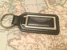ASTON MARTIN BLACK Quality Black Real Leather Keyring  OBLONG