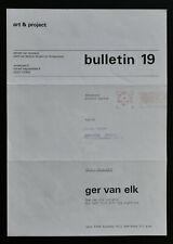 Art & Project # GER VAN ELK , Bulletin 19 # 1970, mint--