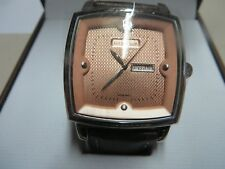 Cross Paris Men's Brown Watch Knurled Crown w Swarovski Cabochon Leather Strap