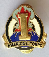 Americas Corps Volcano Pin Badge Rare Army Vintage Military (D6)