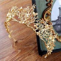 Vintage Barock Hochzeit Braut Haarschmuck Libelle Frauen Gold Krone Stirnba P5I1