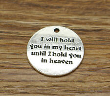 15 I will hold you in my heart Charms Word Love Wedding Round Charms 25x25 2181