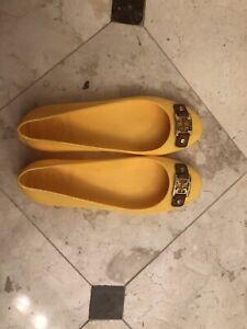 TORY BURCH Reva Logo Yellow JELLY Rubber Shoes Rain Ballet Flats | Size 7