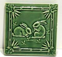 "Bordallo Pinheiro Rabbit Green Ceramic Box LID Only Replacement 5.25"" sq."