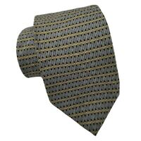 Bill Blass Neo Silk Tie Blue Gold Geometric Necktie