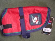 "Tottie waterproof dog coat, small 10"" along back,fleece lined ,Red/navy,new/tags"