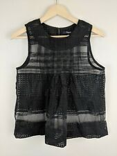 Madewell Womens Black Sheer Embroidered Sleeveless Pleated Flare Blouse Top 4
