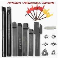 7PC/Set 12MM Lathe Turning Tool Holder Boring Bar With DCMT CCMT Carbide Insert