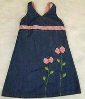 Zoey Girl Blue Denim Girls Size 6 Sun Dress Cotton Red Gingham Butterflies EUC