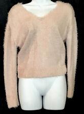 majorelle Sweater Nude Glittery Fuzzy Twist Back Long Sleeve Size XS