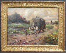 Impressionist Style Painting Bullock Cart C.1920
