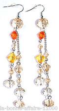 BOUCLES D'OREILLES FANTAISIE PENDANTE chaîne plusieurs perles orange tendance