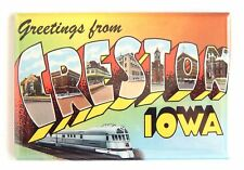 Greetings from Creston FRIDGE MAGNET (2 x 3 inches) iowa travel souvenir