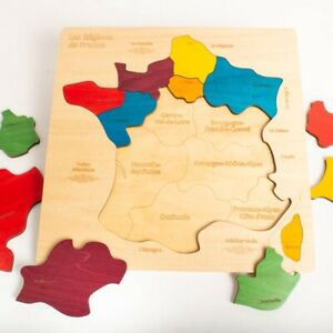 Eduk8 Map of France Wooden Jigsaw - Colourful 36x36x1cm, french, geography