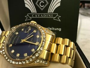Cavadini Leonardo Men's Watch Solid Stainless Steel Ipg - Gold Plated With Blue