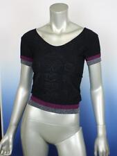 Women Black Short Sleeve Black Stretch Blouse Top Shirt - Small