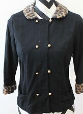 Vintage Black Animal Print Shirt Blouse L#1084