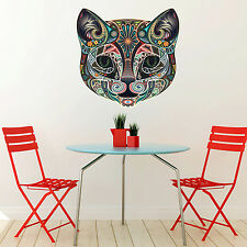 LARGE ABSTRACT COLOUR FLORAL CAT FACE ANIMAL WALL STICKER VINYL TRANSFER MURAL