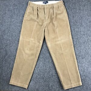 Vintage Polo Ralph Lauren Andrew Corduroy Pleated Pants Mens 35x29 90s Wide Leg